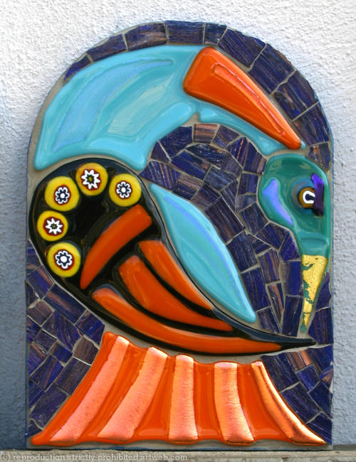 Arch Bird 2 Glass fusions and Vitreous Glass 13x18cm
