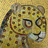 Sicily Leopard Head - Smalti, millefiori fusions and Gold leaf Smalti