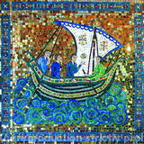 Byzantine Fisherman - Smalti, Millefiori, Gold Mirror and Hand Made Ceramic Elements set in Metal Tray