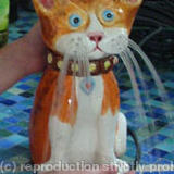 Ginger Cat Fountain - Glazed Ceramic