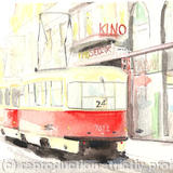 Tram stop Prague - watercolour on arches paper