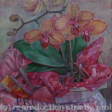 Orchids on a pink t-shirt - Oil on Canvas