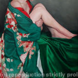 Seated in green Furisode kimono - Oil on linen