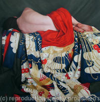 Reclining on Blue Uchikake Kimono