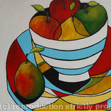 Blue and White Striped Bowl - Acrylic on Canvas