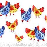 Lots of jolly chickens card - Digital print