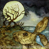 as gold moon rose beyond crumbling cliff covehithe - handmade print with watercolour
