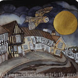 the silent visitor came flying low Lavenham - handmade print with watercolour