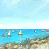 Sailing Past the Rocky Shore - acrylic on 3d canvas