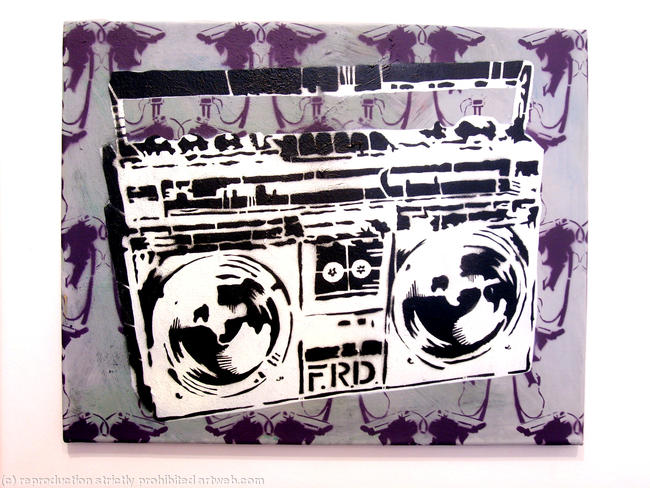Old Stereo 01 stencil on canvass 50x40cm