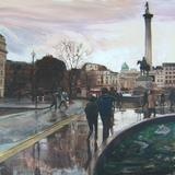 Trafalgar Square, London after a rainstorm - oil